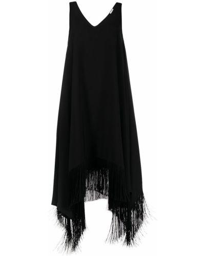 Черное платье миди без рукавов с бахромой P.a.r.o.s.h.