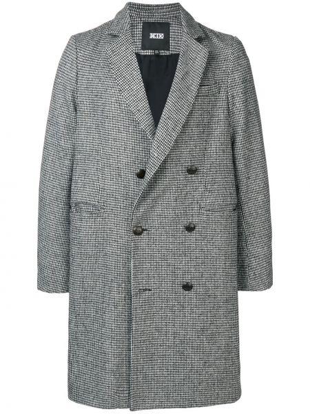 Деловое черное шерстяное длинное пальто с лацканами Ktz