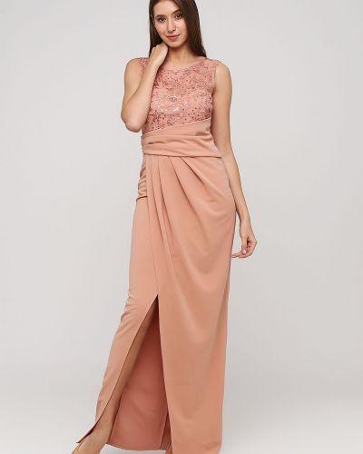 Бежевое кружевное вечернее платье с пайетками No Brand