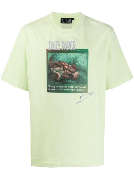 Koszula krótkie z krótkim rękawem prosto zielona Daily Paper