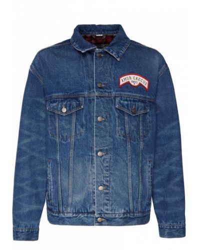 Синяя джинсовая куртка с нашивками на пуговицах оверсайз Gucci