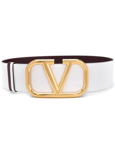 Biały pasek skórzany z paskiem Valentino