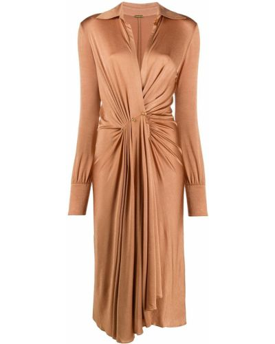 Плиссированное платье с рукавами с декольте с воротником с драпировкой Dodo Bar Or