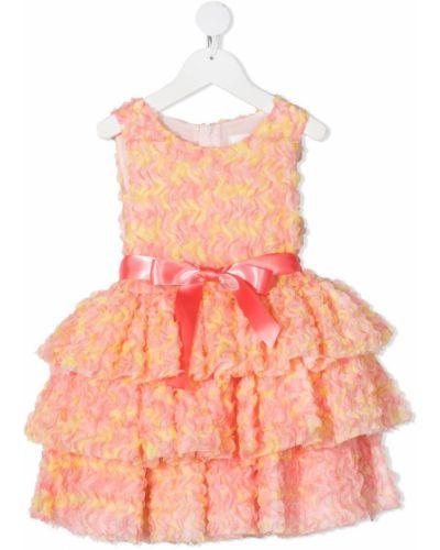 Pomarańczowa sukienka z wiskozy bez rękawów Charabia