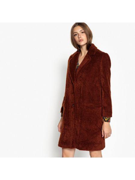 Коралловое длинное пальто с воротником из искусственного меха с подкладкой See U Soon