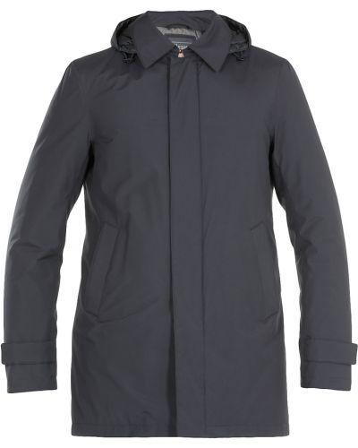 Niebieski długi płaszcz z kapturem z długimi rękawami Herno