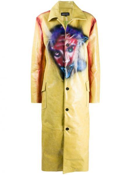 Żółty płaszcz skórzany z długimi rękawami Mowalola