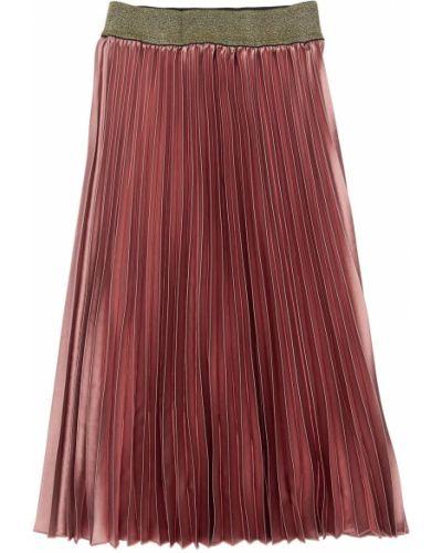 Różowy pofałdowany spódnica maxi z lurexem prążkowany John Richmond