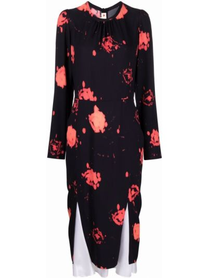 Платье миди с принтом - черное Marni