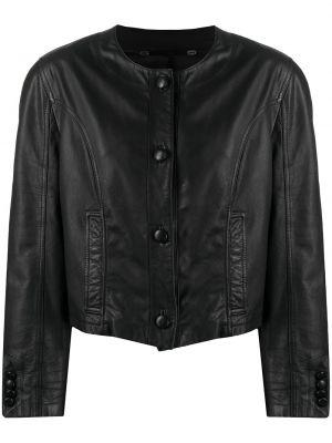 Черная кожаная короткая куртка винтажная A.n.g.e.l.o. Vintage Cult