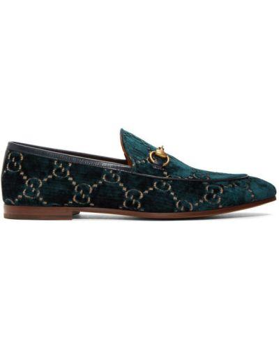 Aksamit niebieski loafers okrągły prążkowany Gucci