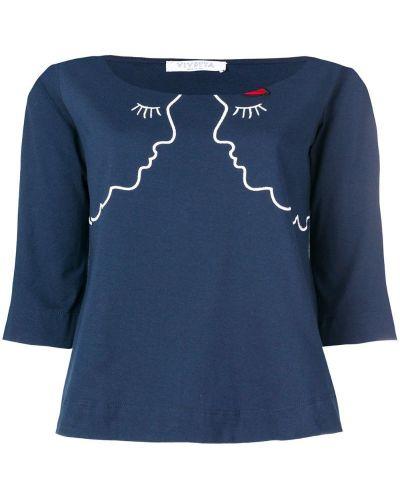 Синий джемпер с вышивкой Vivetta