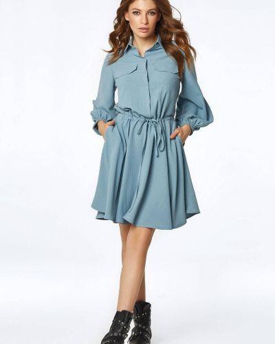 Голубое платье с поясом Nenka