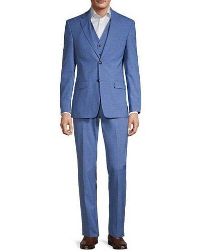 Синий шерстяной костюм с жилетом без рукавов Tommy Hilfiger