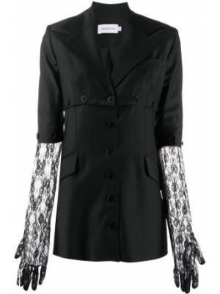 Черный приталенный пиджак с карманами 16arlington
