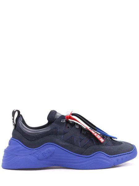 С кулиской текстильные черные кроссовки на шнуровке Stokton
