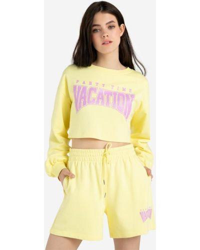 Спортивные желтые джинсовые шорты с принтом Gloria Jeans