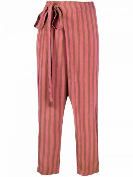 С завышенной талией коричневые брюки в полоску Uma Wang