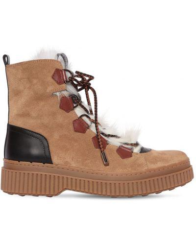 Ботинки трекинговые на шнуровке замшевые Tods