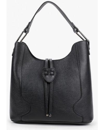 Черная сумка шоппер из натуральной кожи Carla Ferreri