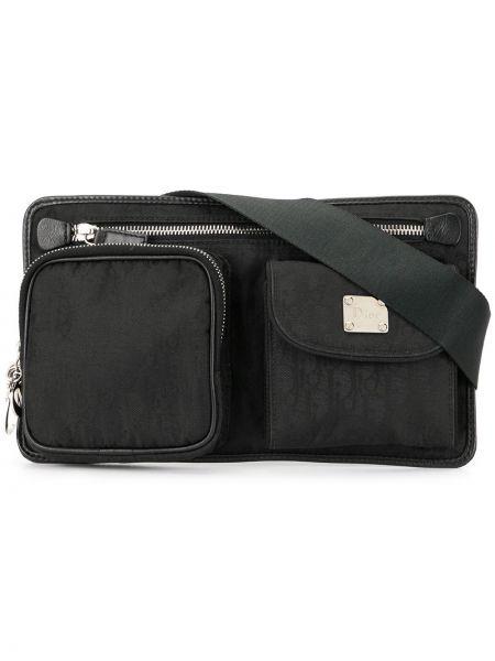 Черная нейлоновая поясная сумка с помпоном на пуговицах Christian Dior