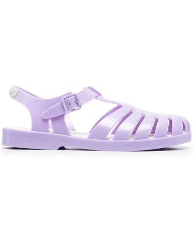 Fioletowe sandały na niskim obcasie z klamrą Rombaut