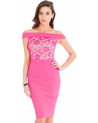Розовое кружевное вечернее платье с открытыми плечами City Goddess