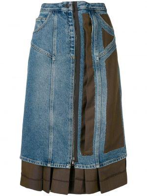 Юбка миди с завышенной талией - синяя Maison Margiela