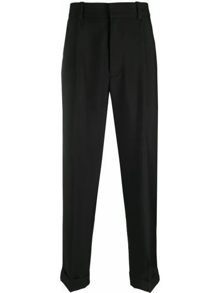 Czarne spodnie z wysokim stanem bawełniane Acne Studios