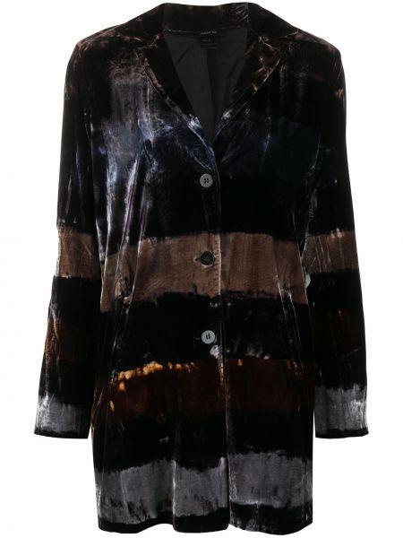 Бархатный черный удлиненный пиджак на пуговицах с лацканами Avant Toi