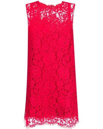 Шелковое красное платье трапеция Dolce & Gabbana