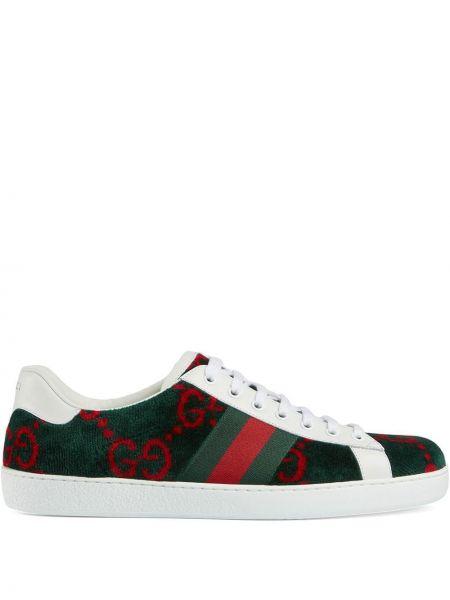 Zielony włókienniczy sneakersy na sznurowadłach okrągły Gucci