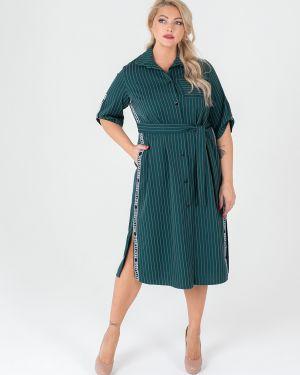 Платье с поясом футболка на пуговицах Sparada