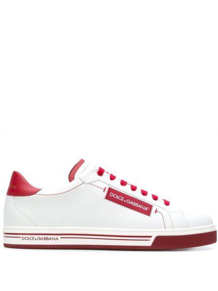 Białe sneakersy skorzane sznurowane Dolce And Gabbana