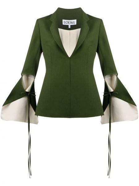 Хлопковый зеленый пиджак с лацканами Loewe
