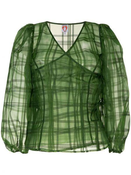 Zielona bluzka z długimi rękawami z dekoltem w serek Shrimps