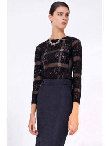 Блузка кружевная черная Lo