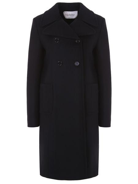 Шерстяное пальто - черное Valentino