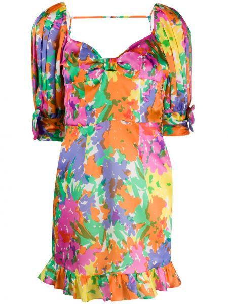 Шелковое розовое платье мини на молнии с оборками Alessandra Rich