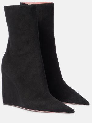 Черные кожаные ботинки Amina Muaddi
