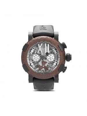 Brązowy zegarek mechaniczny srebrny szafir Rj Watches