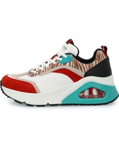 Кожаные белые высокие кроссовки на шнуровке Skechers