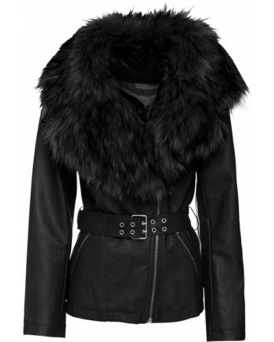 Кожаная куртка с мехом - черная Bonprix