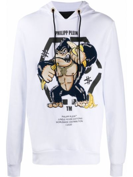 Długo biały bluza z logo z długimi rękawami Philipp Plein