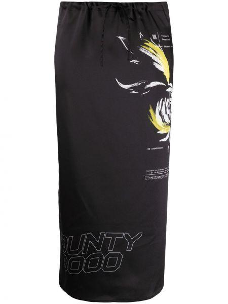 Черная прямая с завышенной талией юбка миди в рубчик Marcelo Burlon. County Of Milan
