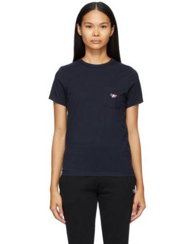 Хлопковая с рукавами рубашка с воротником с карманами Maison Kitsuné