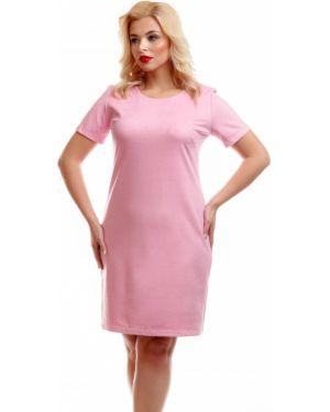 Платье мини розовое с V-образным вырезом Liza Fashion