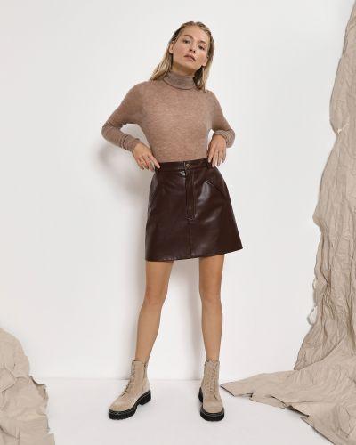 Коричневая прямая юбка мини с поясом из плотной ткани 12storeez