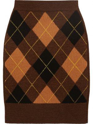 Шерстяная с завышенной талией вязаная юбка Burberry