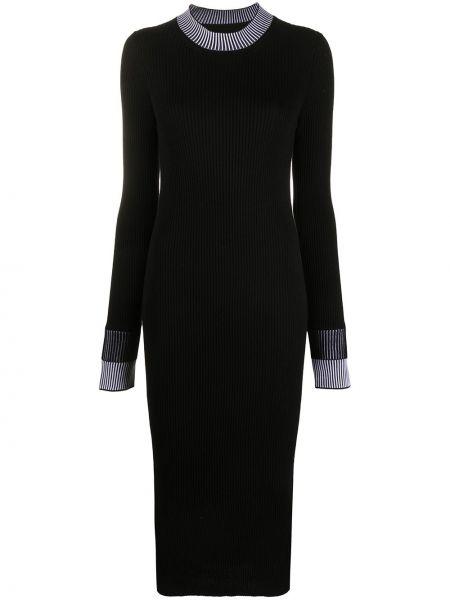 Платье миди в рубчик - черное Maison Margiela